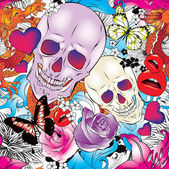Seamless pattern with hearts skulls and flowers