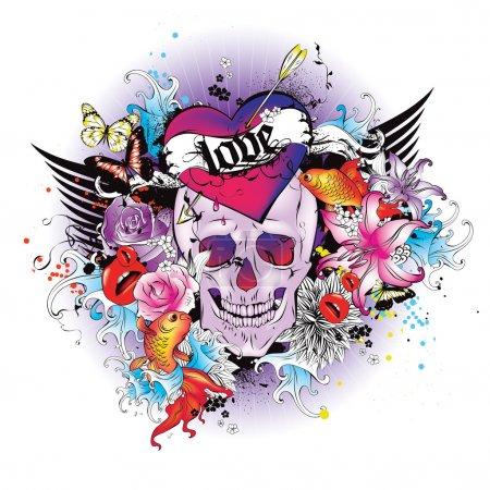 Illustration pour Illustration vectorielle : T-shirt crâne graphique - image libre de droit