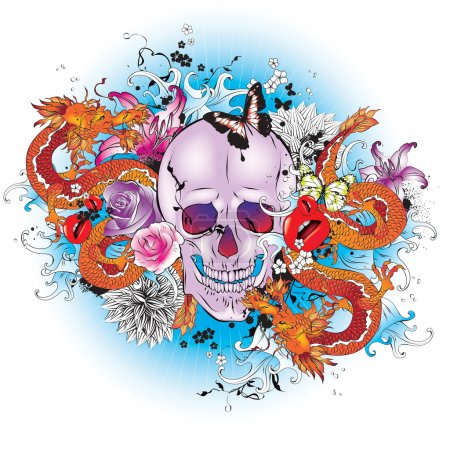 Illustration for Skull tattoo style graphic. Vector illustration - Royalty Free Image