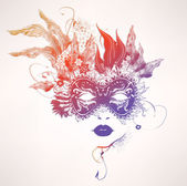 Abstract woman face with flowers Vector colorful illustration