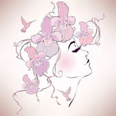 """Постер, картина, фотообои """"Женщина профиль с орхидеями"""""""