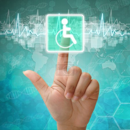 Hand press on Disabled Symbol ,medical background