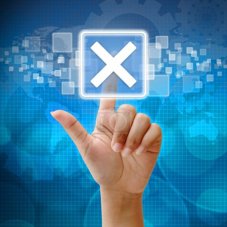 In press cross icon on business background blue color