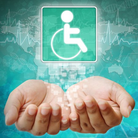 Photo for Disabled Symbol om hand,medical background - Royalty Free Image