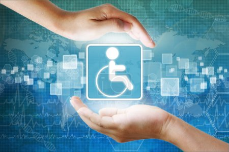 Photo for Medical icon, Disabled symbol in hand - Royalty Free Image