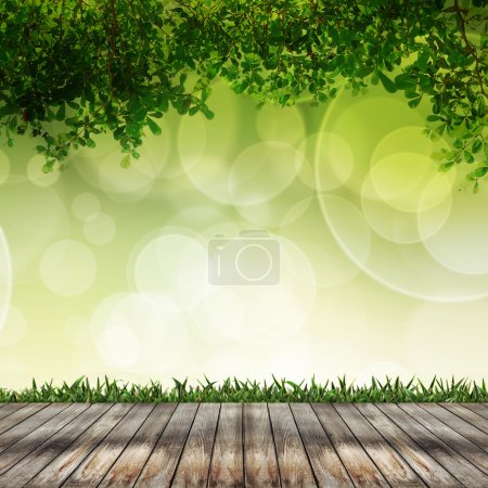 Empty wood and abstract background over beautiful bokeh