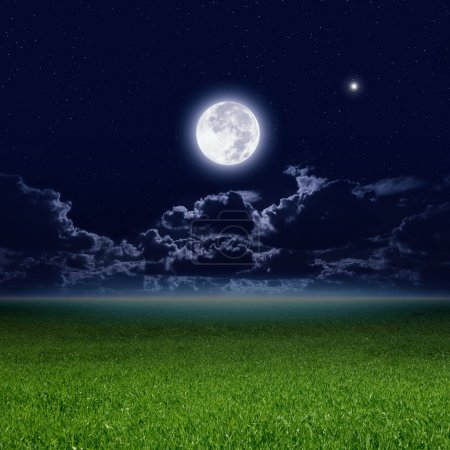 Full moon, green field