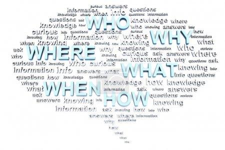 Photo pour Penser ou parler bulle avec des questions telles que qui, quoi, où, quand, pourquoi et comment cela peut représenter une confusion dans la communication - image libre de droit
