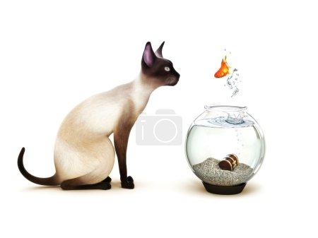 Photo pour Montrer sans crainte, poisson sauter d'un bocal à poissons en face d'un chat. humour, partie d'une série de thème animaux. - image libre de droit