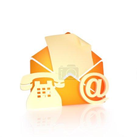 Photo pour Contactez-nous, par mail, internet et téléphone concept sur fond blanc - image libre de droit