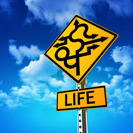 Sign concept symbolizing life is full of twists and turns