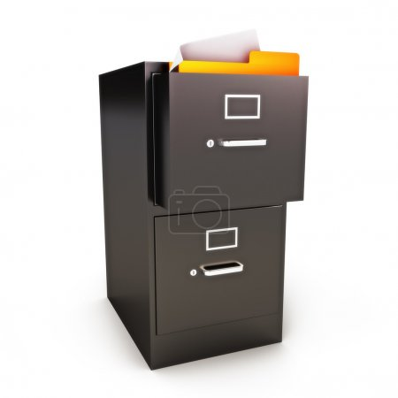 Photo for File Cabinet with files on a white background - Royalty Free Image