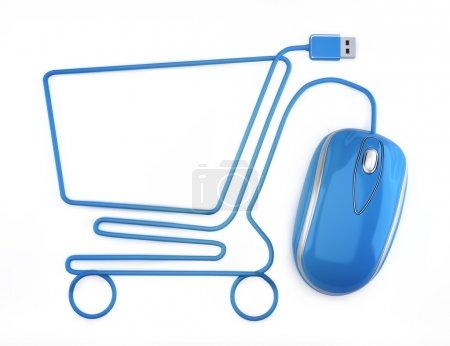 Photo pour Souris bleue sous la forme d'un panier d'achat sur fond blanc. - image libre de droit