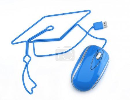 Photo pour Souris bleue avec cordon en forme de bonnet de graduation sur fond blanc . - image libre de droit