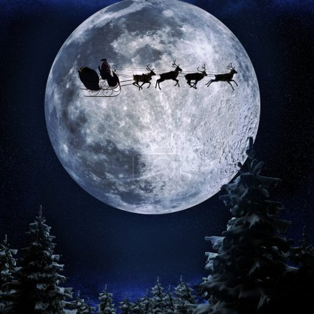 Photo for Santa flying in his sleigh against a full moon background with stars and Christmas tree's.Moon texture courtesy of www.nasa.gov - Royalty Free Image