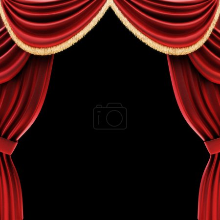 Open theater drapes or stage curtains