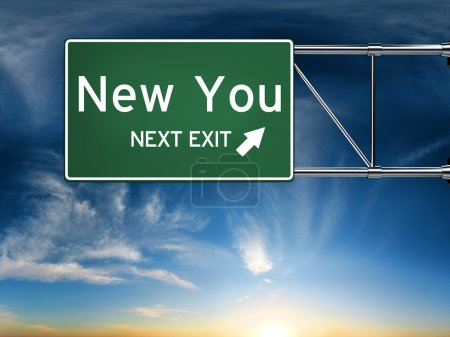 Photo for New you next exit, sign depicting a new change in life - Royalty Free Image