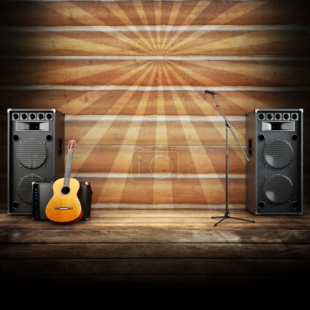 Photo for Country music stage or singing background, microphone, guitar and speakers with wood flooring and sunburst background. Advertising concept with room for text or copy space - Royalty Free Image