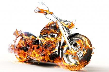 Photo pour Vélo brûlant chaud avec des flammes - image libre de droit