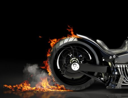 Photo for Custom black motorcycle burnout on a black background. Room for text or copy space - Royalty Free Image