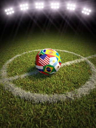 Photo for 3d rendering of a soccer ball on a soccer field of the participating countries in soccer world cup - Royalty Free Image