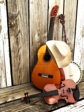 Photo pour Instruments à cordes, guitare, banjo et violon avec un chapeau de cow-boy appuyé contre une clôture en bois . - image libre de droit