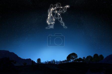 Zodiac Sign Aquarius with a star and symbol outline