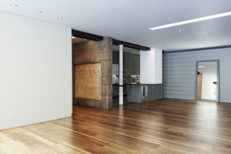 Empty Highrise apartment with column accent interior and hardwood floors