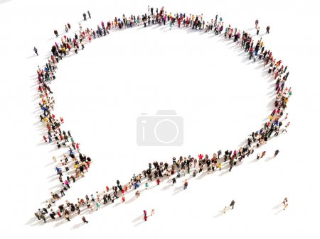 Photo for Large group of people in the shape of a chat bubble. High angle view on a white background. - Royalty Free Image