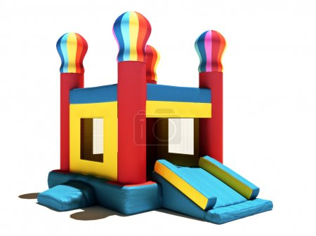 Childern's Bounce house on a white background.