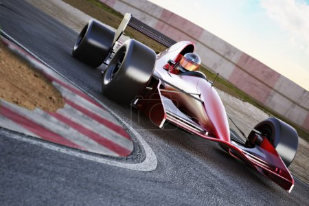 Photo for Race car racing on a track with motion blur. - Royalty Free Image
