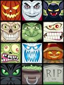 Set of 12 Halloween square avatars
