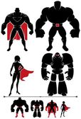 4 different superhero silhouettes in 2 versions each