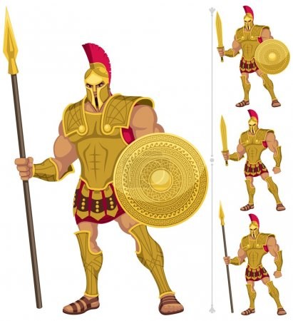 Greek hero isolated on white. On the right are 3 a...