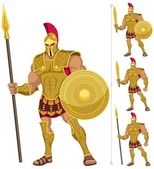 Greek hero isolated on white On the right are 3 additional versions of him No transparency and gradients used
