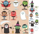 Collection of Halloween characters On the right are the same characters adapted for white background No transparency and gradients used