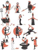 Set of Greek / Roman gods over white background No transparency and gradients used