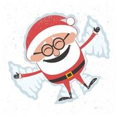 Christmas card with Santa Claus making snow angel No transparency and gradients used