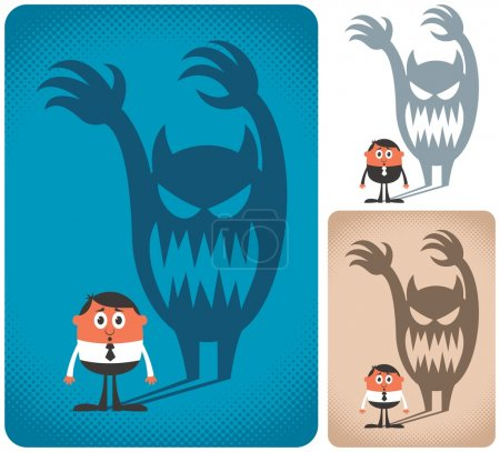 Illustration for Man haunted by his shadow. The illustration is in 3 versions. - Royalty Free Image