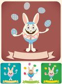 Easter bunny juggling with Easter eggs Illustration is in 4 versions No transparency and gradients used