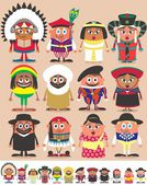 Set of 12 characters dressed in different national costumes Each character is in 2 color versions depending on the background No transparency and gradients used AI CDR EPS JPEG and PSD files