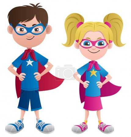 Illustration for Illustration of 2 super kids: Super boy and super girl. No transparency used. Basic (linear) gradients. - Royalty Free Image