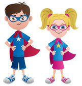 Illustration of 2 super kids: Super boy and super girl No transparency used Basic (linear) gradients