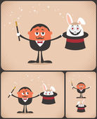 Magician pulls rabbit out of hat The illustration is in 3 versions No transparency and gradients used