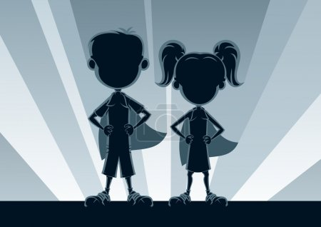 Illustration for Boy and girl superheroes, posing in front of light. No transparency used. Basic (linear) gradients used for the background. A4 proportions. - Royalty Free Image