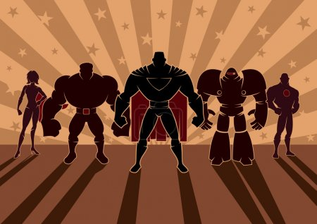 Team of superheroes. No transparency and gradients...