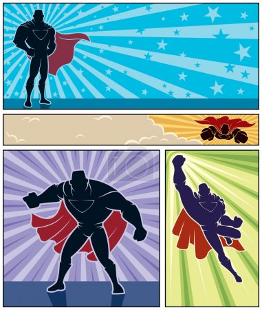 Illustration for Set of 4 superhero banners. No transparency and gradients used. - Royalty Free Image