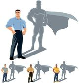 Conceptual illustration of ordinary man with superhero shadow The illustration is in 4 versions No transparency and gradients used