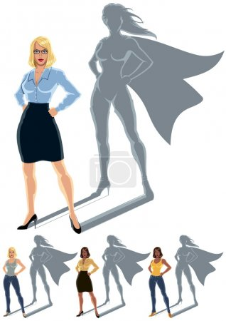 Illustration for Conceptual illustration of ordinary woman with superheroine shadow. The illustration is in 4 versions. No transparency and gradients used. - Royalty Free Image
