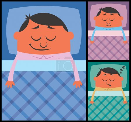 Illustration for Cartoon illustration of sleeping man in 3 versions. No transparency and gradients used. - Royalty Free Image